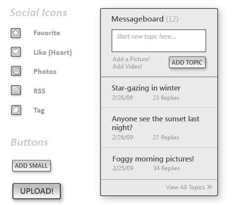A peak at the social wireframe widgets and elements I made.