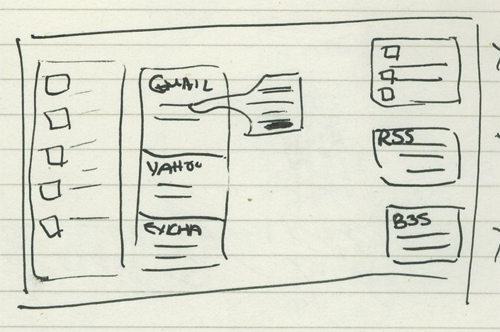 First attempt at sketching my aggregator idea.